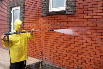 removing efflorescence from brick before application.